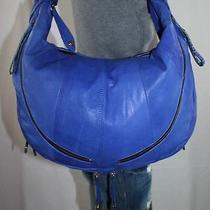 Or Oryany X-Large Purpleblue Leather Shoulder Hobo Tote Satchel Slouch Purse Bag Photo