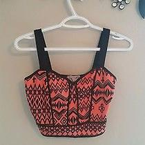 Orange Black Patterned Crop Top Small Express Forever21 Charlotte Photo