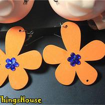 Orange Handmade Girl Big Romantic Shining Wood Flower Woman Earrings Ear Drop Photo