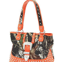 Orange  Mossy Oak Camofauge Licensed Studded Rhinestone Buckle Handbag Tote Bag  Photo