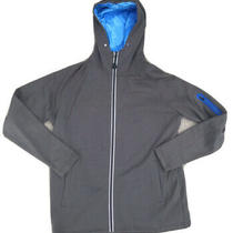 Orange Theory Hoodie Full Zipper Reflective Accents Grey Blue Men's Small Photo