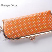 Orange White Dots Lady Women Rose Gold Metal Clutch Wallet Coin Bag Purse Photo