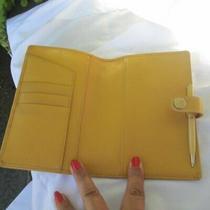 Organizer Coach Leather Planner With Pen Wallet Yellow Photo