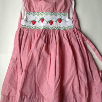 Orient Express Red and White Gingham Dress Strawberry Smocked Detail Sz 4 Photo