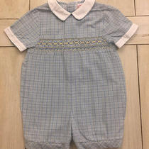 Orient Expressed Blue Yellow White Plaid Smocked One Piece Romper  6 Months  Photo