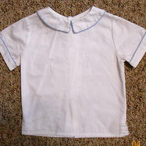Orient Expressed Boys White Short Sleeve Dress Shirt Light Blue Piping Sz 3t Euc Photo