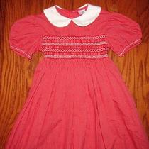 Oriental Express Dress Red & White Check Smocked Girls Size 7 Photo