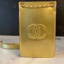 Orig 1450 Chanel Small Handbag/phone Holder Patent Leather Crossbody Gold Auth Photo