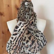 Orig. 295 Adrienne Landau Leopard Print Rabbit Fur Pull Through Scarf Photo