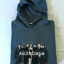 Original Balenciaga 950 Real Logo Hoodie Sweatshirts Xs Purple Blue - Oversized Photo