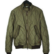 Original Burberry Brit Men Quilted Bomber Green Jacket Size L Photo