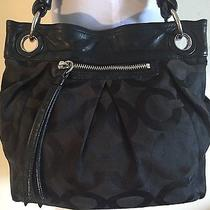 Original Coach Authentic Medium Black Bag Supreme Cc Purse Handbag Huge Blue Photo