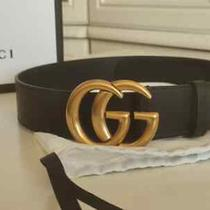 Original Gucci Black Leather Belt With Double G Buckle 1.5