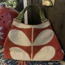 Orla Kiely Orange Cream Wool Leather Large Stem Bag Hobo - Very Rare Photo