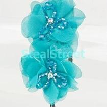 Ornate Fabric Flower With Crystals on Black Headband Aqua Photo