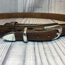 Orvis Men's Brown Leather Ranger Belt Made in Usa 38 Solid Brass Silver Buckle Photo