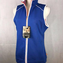 Orvis Womens Sz S Trout Bum Blue White Drirelease Fast Drying Zip Front Vest Nwt Photo