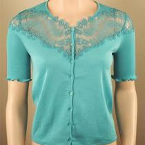 Oscalito Aqua Lisle Cotton Cardigan Lace Size 2 Small New Photo