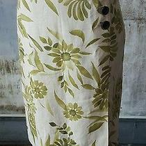 Oscar De La Renta 100% Linen Painted Leaf Pencil Skirt Sz 8 Blush Beige & Olive  Photo