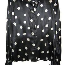 Oscar De La Renta 100% Silk Black Polka Dots Ruffle Cuff Womens Size 6 S Small Photo