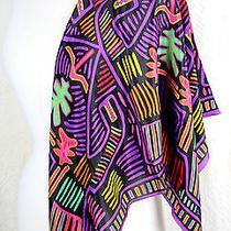 Oscar De La Renta 100%Silk Multicolor Bright Colorful Scarf Shawl Wrap 30