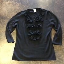 Oscar De La Renta Black  Cashmere Silk Tassel Sweater L Photo