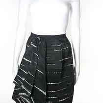Oscar De La Renta Black Silk Pleat Front Tie Dye Skirt Sz 0 Photo