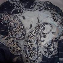 Oscar De La Renta Blue and Gray Paisley Square Silk Scarf New Photo