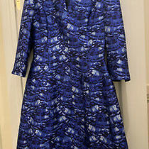 Oscar De La Renta Blue Feather Print Dress Photo