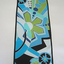 Oscar De La Renta Blue Mod Retro Silk Oblong Scarf - Geometric and Floral Print Photo