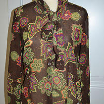 Oscar De La Renta  Brown Floral Sheer Blouse With Scarf Womens Size 6 Photo