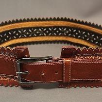 Oscar De La Renta Brown Leather Belt Size M Photo