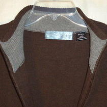 Oscar De La Renta Brown Zip Front Light Mens Sweater M Medium Free Shipping Photo