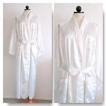 Oscar De La Renta Designer White Satin Lingerie Full Length Long Robe- M Photo