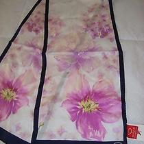 Oscar De La Renta Floral Scarf Navy/pink/white/purple100% Silk 52