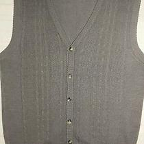 Oscar De La Renta Gray Cable Knit Sweater Vest New Photo