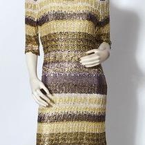 Oscar De La Renta Lacquer Knit Silk Gold & Purple Sweater Dress Sz L 2950 Euc Photo