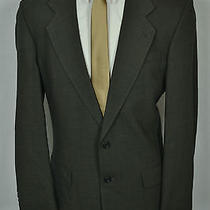 Oscar De La Renta Men's Green Wool Bird's Eye Pleated Front 2 Piece Suit (42xl) Photo