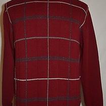 Oscar De La Renta Men's Pull Over Knit Sweater Burgundy Size Medium Photo