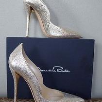 Oscar De La Renta Metallic Gold Sabrina Wedding Heels Shoes Sz 38 Us 8 Nib 770 Photo