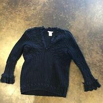 Oscar De La Renta Navy Black 3-4 Ply Knitted Cashmere Lacey  Sweater S Photo
