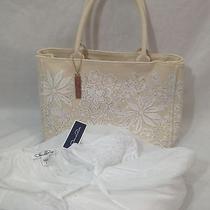 Oscar De La Renta New Nightgown Baby Doll Size L White Canvas Shopping Tote Bag  Photo
