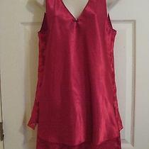 Oscar De La Renta Pink Label Red Pajama Set Sz M See-Through Pants Sexy Lingerie Photo