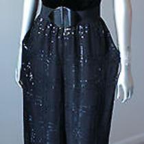 Oscar De La Renta Silk Chiffon Black Embellished Velvet Tube Jumpsuit Corset Xs Photo