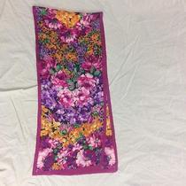 Oscar De La Renta Studio Scarf Pink Purple Orange Floral Rectangle Photo