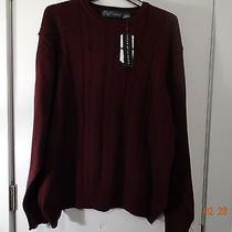 Oscar De La Renta Sweater Crew Neck Cotton  Wine 2xl Photo