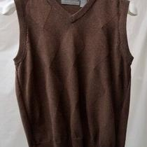Oscar De La Renta Sweater Vest Brown 100% Cotton Pullover Argyle  Medium Euc Photo