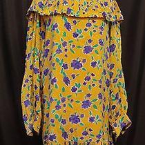 Oscar De La Renta Vintage Dress Sz 14 Yellow With Purple Flowers Pleated Collar  Photo