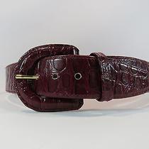 Oscar De La Renta Vintage Maroon Croc Pattern Belt Size 12 Euc Hc Photo