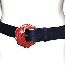 Oscar De La Renta Vintage Sculpted Rose Buckle Satin Belt 12 Photo
